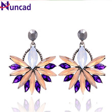 2017 6 Colors For Women Big Brand Luxury Starburst Pendant Colorful Crystal Dangle Gem Statement Earrings Jewelry