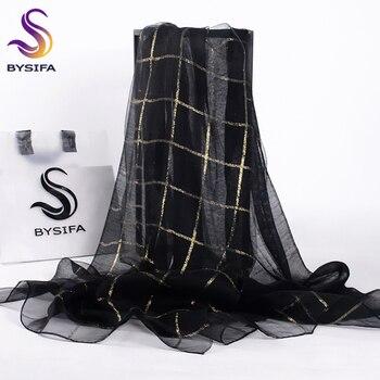 [BYSIFA] женский черный золотой плед шелковый шарф шаль Дамская мода аксессуары бренд 100% шелк органза Длинные шарфы обертывания 190*70 см