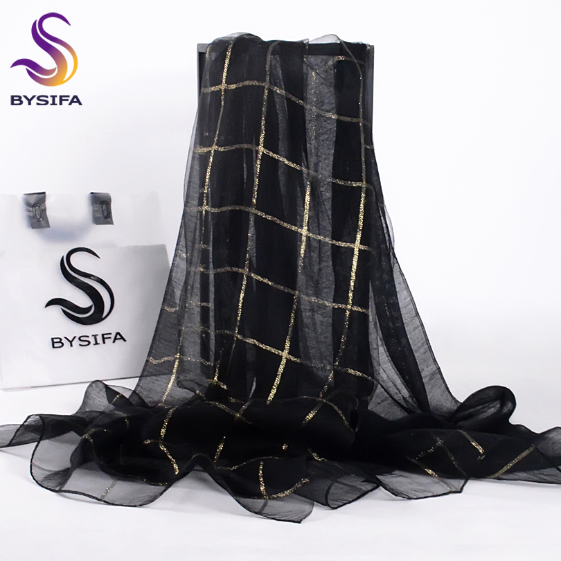 [BYSIFA] Women Black Gold Plaid Silk Scarf Shawl Ladies Fashion Accessories Brand 100% Silk Organza Long Scarves Wraps 190*70cm