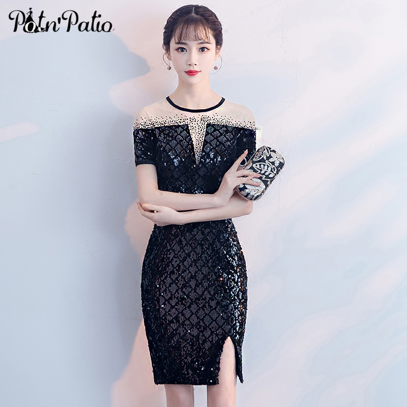 Sexy Black Sequin Mini   Cocktail     Dresses   Transparent Crystal Short-Sleeve   Cocktail   Party   Dresses   Elegant Special Occasion   Dress