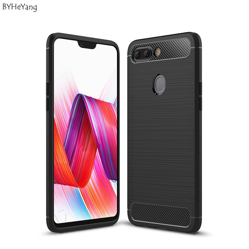 BYHeYang Slim Brushed Silicone Case For OPPO R15 Case Luxury Ultra-Thin Carbon Fiber Case For OPPO R 15 Soft TPU Cases Coque