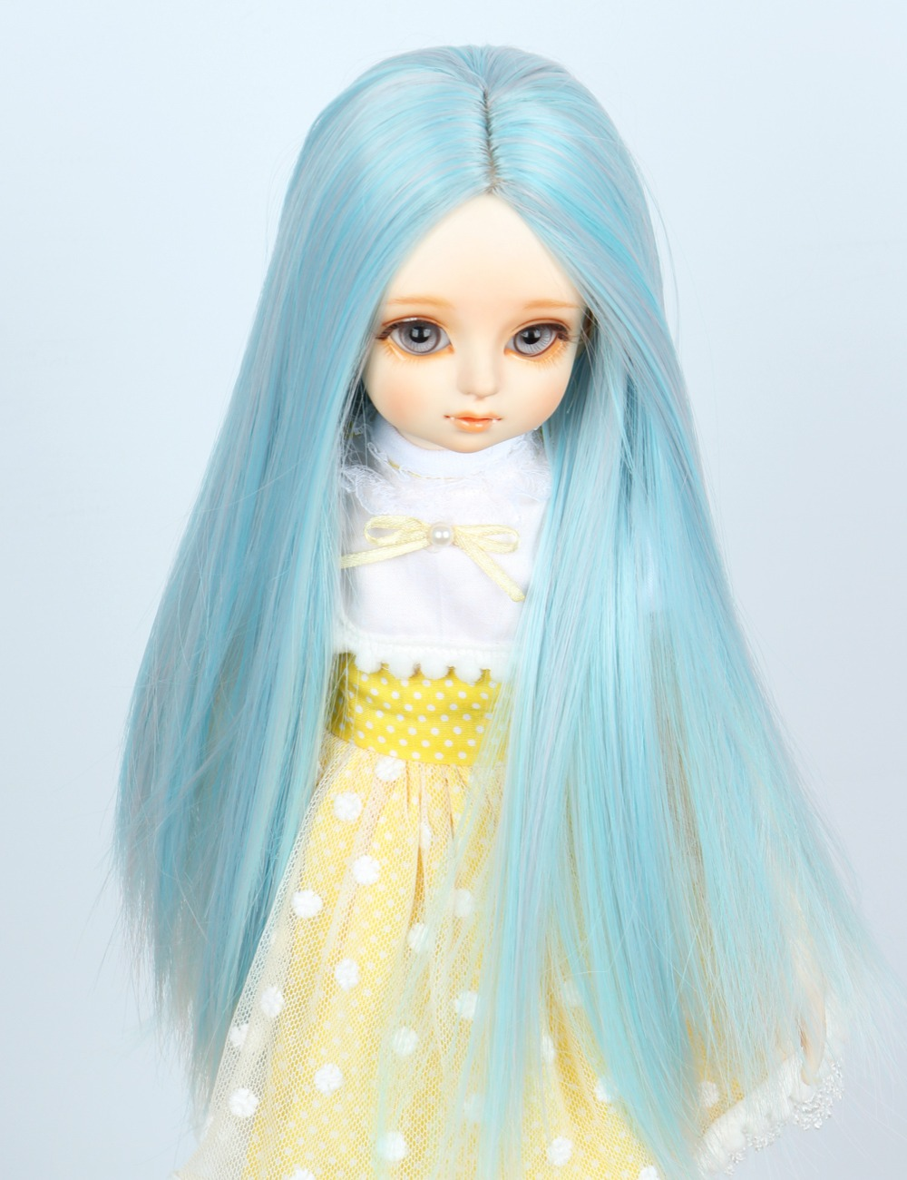 1/3 BJD Wig Pullip Dal DD SD LUT Dollfie Doll Wig High Temperature Hair 8-9 inch Long Blue Wig centre parting