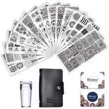 Biutee Juego de placas de sellos para uñas, 15 placas, 1 estampador, 2 rascadores, 1 bolsa de almacenamiento, Desgins, estampador de uñas