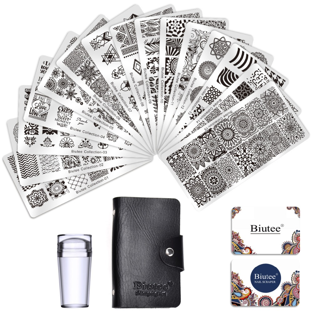 Biutee Nail Stamp Plates set 15 plate +1 Stamper+2 Scraper +1storage bag Desgins Nails Art Stamping Plate Scraper Stamper SetSets & Kits   -