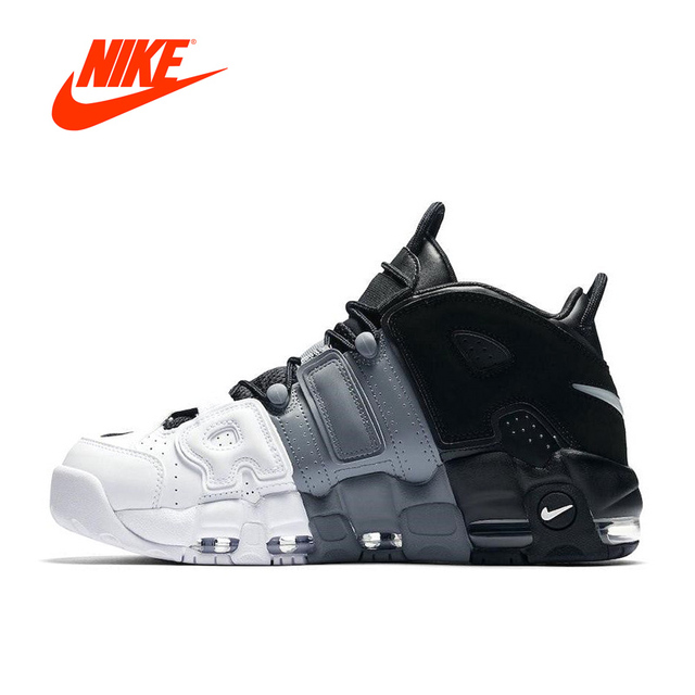 Original New Arrival Authentic Nike Air More Uptempo Tri-Color Men's  Breathable Basketball Shoes Sports