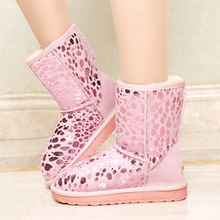 Pink Snow Boots Women 2018 Shiny Platform Shoes Winter Casual Plush Mid  Length Booties Glitter Shoes 63716e08f08b