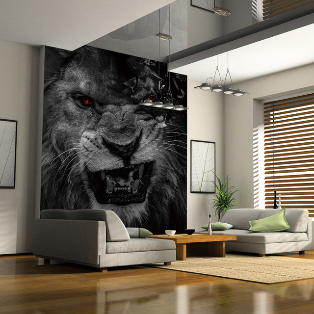 Koop custom foto behang woonkamer slaapkamer dier leeuw zwart wit behang hotel - Foto van volwassen slaapkamer ...