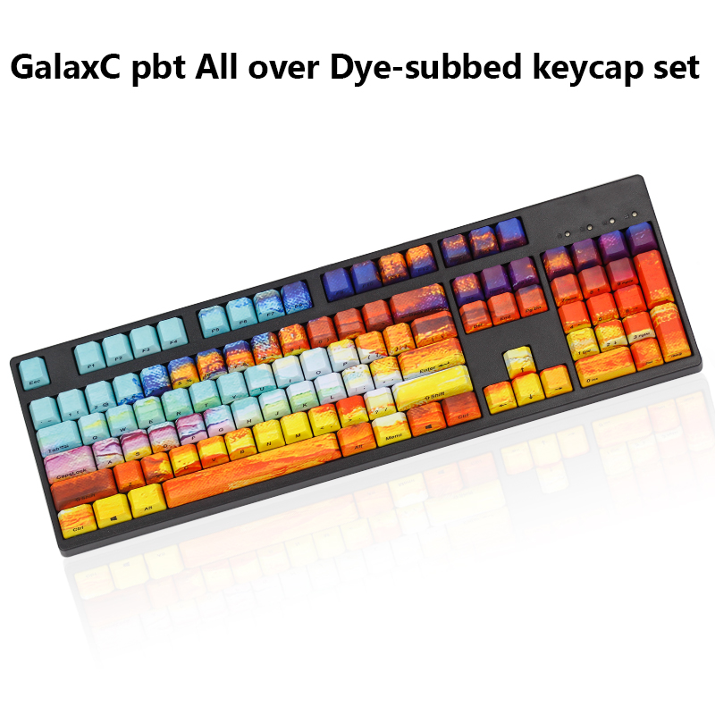 KBDfans GalaxC pbt All over Dye-subbed keycap set pbt side printed keycap for cherry mx usb wried Mechanical keyboard cool jazz pbt cherry mx mechanical keyboard keycaps 151 key dye subbed cherry profile 1 75shift iso keys for corsair strafe k65