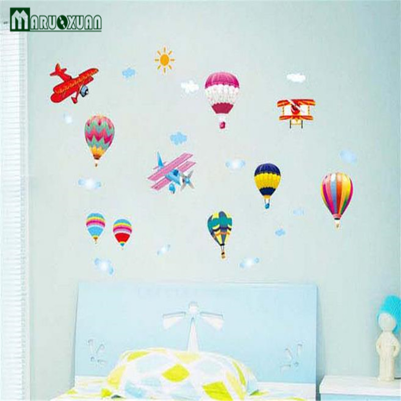 2017 Rushed Hot Air Balloon Wall Stickers Removable Wallpaper Self Adhesive  Flowers Animation Kindergarten Childrenu0027s Room Home  In Wall Stickers From  Home ... Part 78
