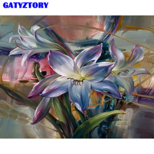 Frameless Purple Flower DIY Painting By Numbers Acrylic Paint On Canvas Modern Wall Art Hand Painted Oil Painting For Home Decor