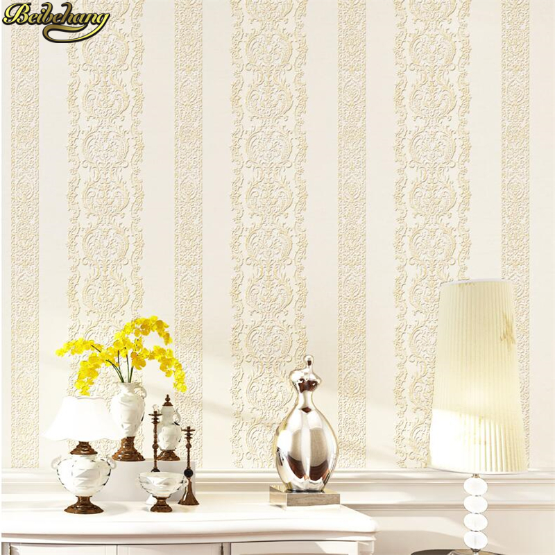 beibehang European 3D Stereo Relief Non Woven Wallpaper Bedroom Living Room TV Walls, Striped Wallpapers papel de parede pastoral large flower wallpapers 3d stereoscopic non woven embossed wallpaper for living room bedroom home decor papel de parede