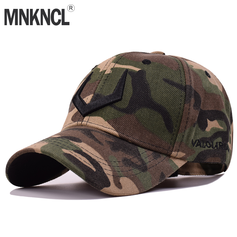 2018 New Camouflage Baseball Cap Men Tactical Hat 3 D Embroidery Camouflage Snapback Hat For Men High Quality Bone Dad Hat Truck mnkncl high quality camouflage skull embroidery baseball cap 100