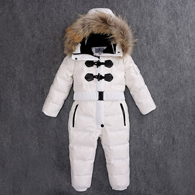 Children Winter Jumpsuits Fur Hood Down Rompers Warm Baby Kids Overalls Winter Boys Girls Snowsuit Coat Outerwear baby children winter kids boys girls double side wear hoodie cloak baby clothes bebe poncho cape coat outerwear