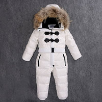 Children Down Rompers With Real Fur Hood Warm Boys Girls Winter Jumpsuits Kids Conjuncted Climb Clothes
