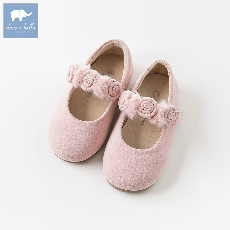 DB8793 Dave Bella autumn baby girl leather shoes children brand shoes