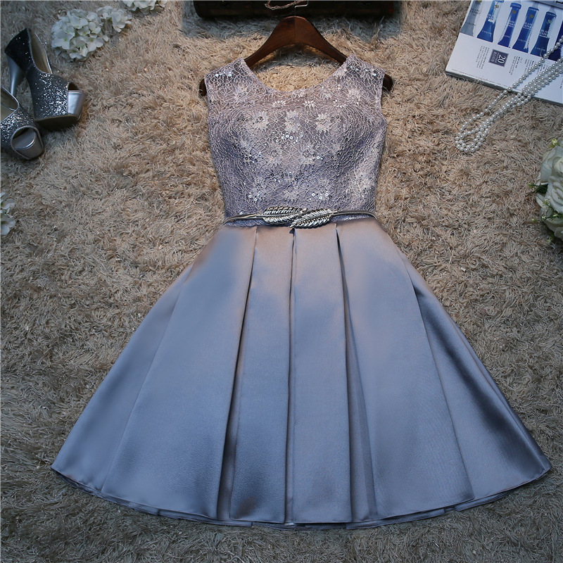 Silver Pink Short Sexy Bridesmaids Dresses For Wedding Party Ceremony With Metal Leaf Sash Lace Up Custom Vestiti Damigella
