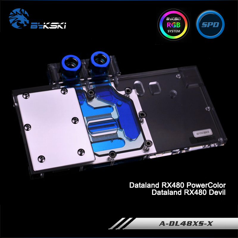 Bykski A-DL48XS-X, Full Cover Graphics Card Water Cooling Block RGB/RBW for Dataland RX480 PowerColor/Devil,  RX470 RX580