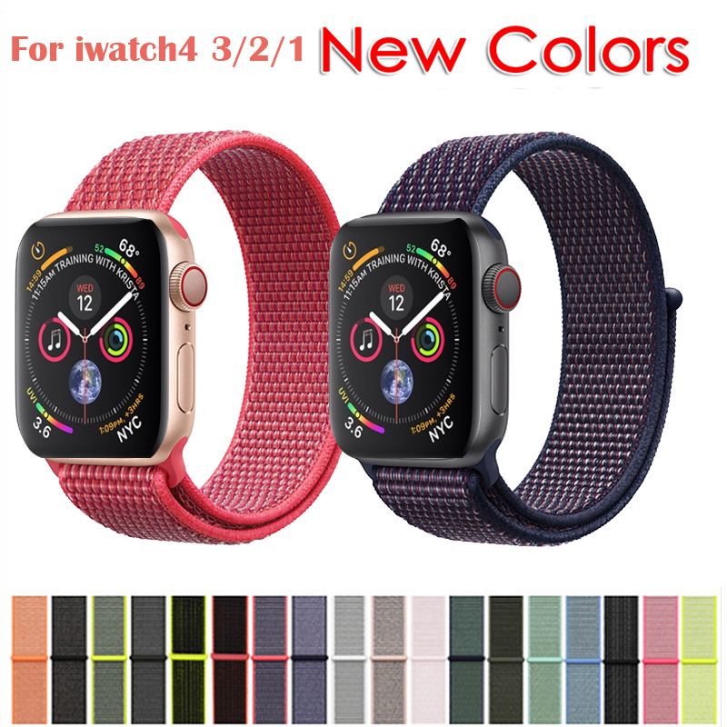 Band For Apple Watch Series 3/2/1 38MM 42MM Nylon Soft Breathable Replacement Strap Sport Loop for iwatch series 4 40MM 44MM цвета apple watch 4