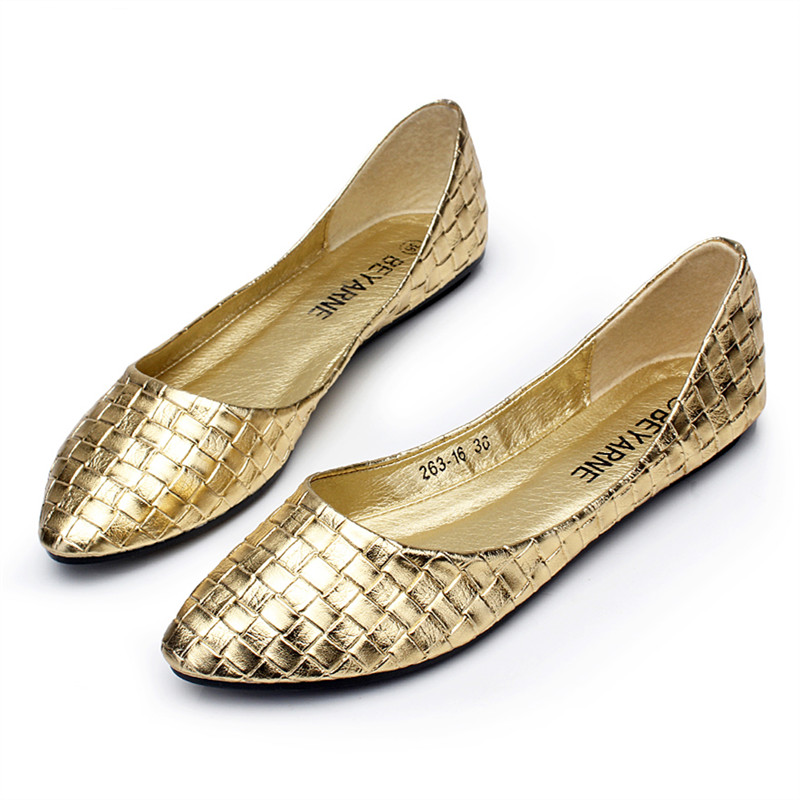 bd671d47961 Spring women shoes comfortable shallow mouth flats casual shoes women gold  silver dipper shoes knitted paragraph flat heel shoes-in Women s Flats from  Shoes ...