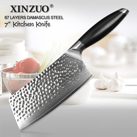 XINZUO 7 ' inches Chopping Knife VG10 Damascus Steel Chinese Kitchen Knives Chef Razor Sharp Cleaver Meat Big Knife G10 Handle