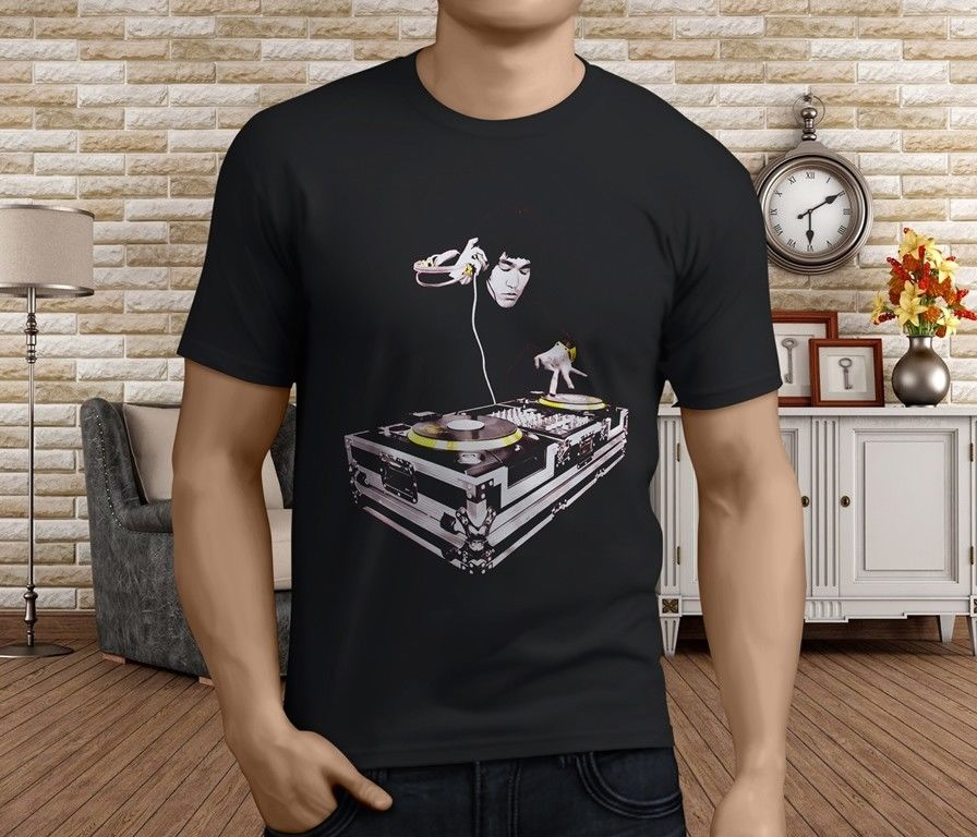 T Shirt Design Basic Top Mens Short New Popular Bruce Lee Dj Scratch Mens Black T-Shirt S 3XL Crew Neck Summer Tee Shirt