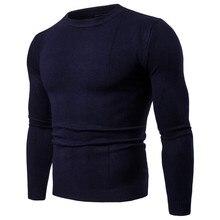 Осень мужской свитер пуловер вязаный свитер хлопок Повседневная Slim Fit O шеи мужской джемпер Sueter Hombre мужская одежда черный серый