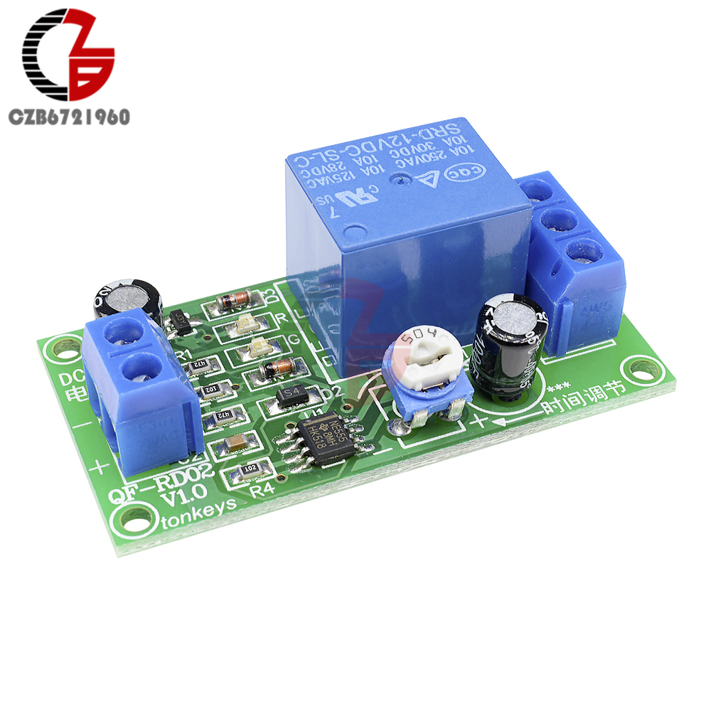 Real Time Delay Relay Module Timer Control Switch Timing Wiring Diagram For A Off Ne555 Dc 12v Conduction Trigger Pulse Generation Adjustable