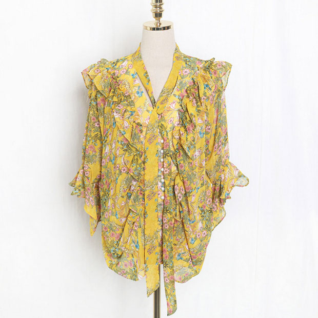 J41581 One Size Women Chiffon Shirt Casual Fashion Sweet Small Floral Printed Tshirt Factory direct wholesale