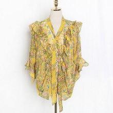 J41581 один размер Для женщин шифоновая рубашка Повседневное прелестные модные туфли Малый с цветочным принтом Футболка фабрики оптовая цена