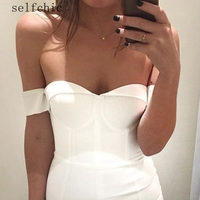 Off Shoulder Bodycon Dress Sexy Bandage Dresses Summer Womens White Red Bridesmaid Robes SALE