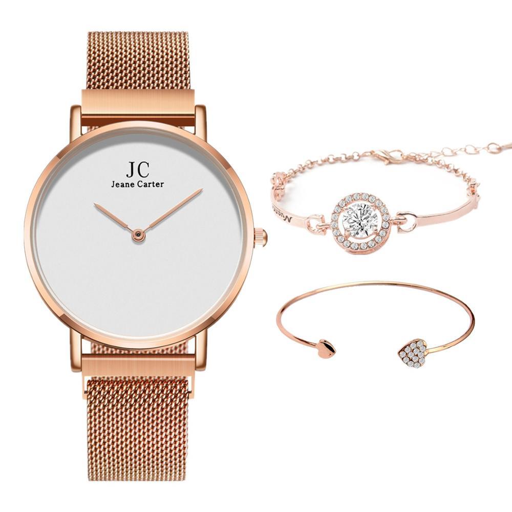 3pcs/set Fashion Minimalism Women Watch Luxury Rose Gold  Magnet Buckle Quartz Women Watches Top Brand Clock Lady Zegarek Damski