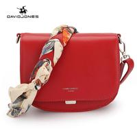 DAVIDJONES women messenger bags pu leather female handbag small lady scarve shoulder bag girl brand crossbody bag drop shipping