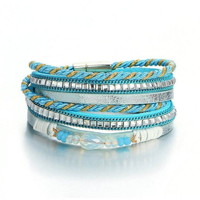 Женский кожаный браслет janeyacy многоуровневый с кристаллами
