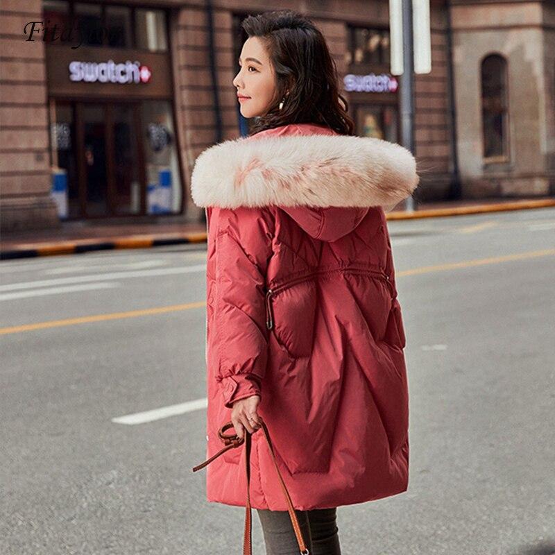 Fitaylor New Winter Women   Down     Coat   Real Fur Hooded Parkas Zipper White Duck   Down   Jackets Meidum Long Snow Outwear