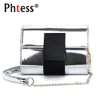 PHTESS Mini Holographic Bag Women Laser Bag Shoulder Bags Silver Small Leather Handbags For Women Crossbody