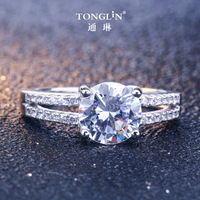 TONGLiN Best selling 2019 products 925 sterling silver dainty sparkling stone ring for valentine day