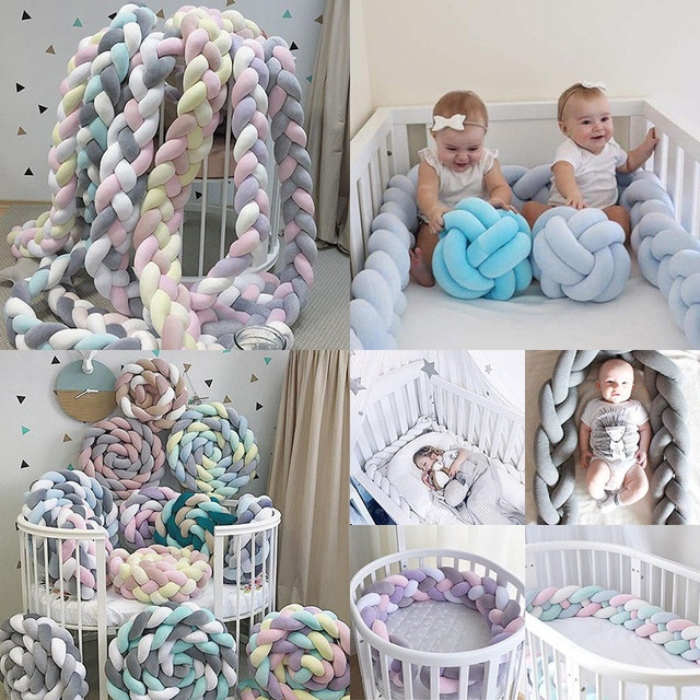 1M/2M/3M Length Newborn Baby Bed Bumper Pure Weaving Plush Knot Crib Bumper Kids Bed Baby Cot Protector Baby Room Decor   Happy Baby Mama