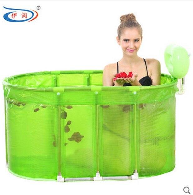 size110 60 60 cm sauna bain pliant a double usage baignoire bain a bulles baril de bain bain adulte en acier inoxydable stent