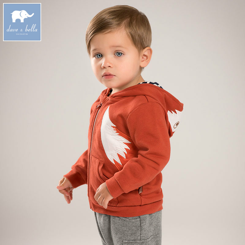 DB6090 dave bella autumn infant baby boys 100 cotton clothes toddler Hooded coat boys children
