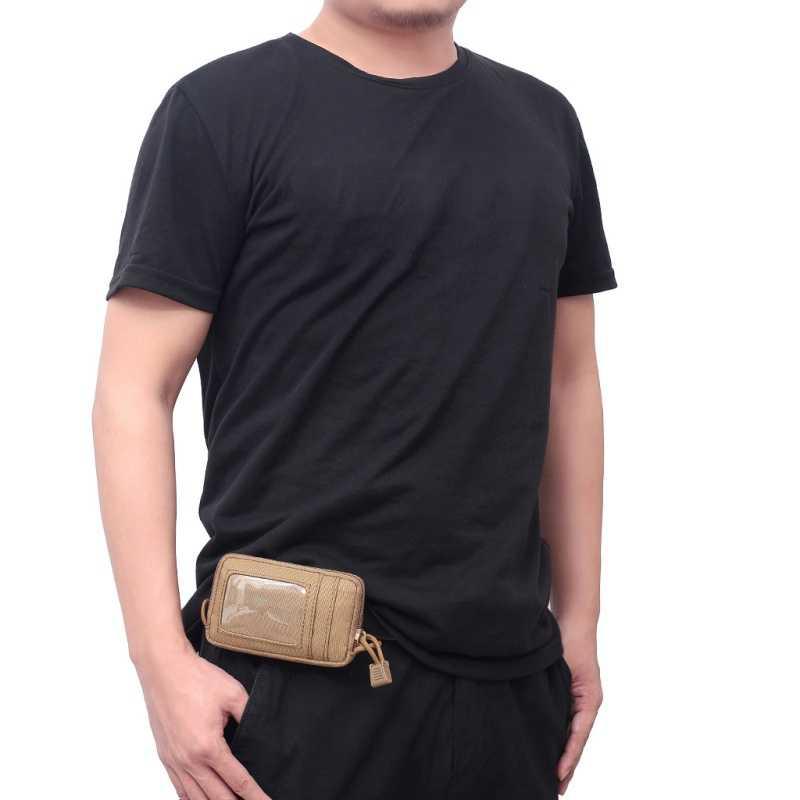 Mini EDC táctico billetera para tarjetas y dinero Paquete de llaves bolsa de Nylon con mosquetón para camping y senderismo al aire libre cinturón impermeable pequeño