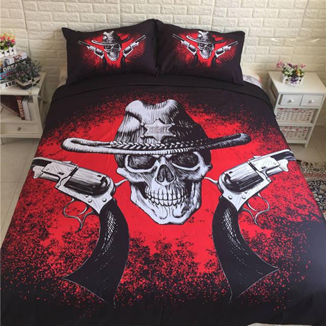 BLACK & RED SKULL BEDDING SETS