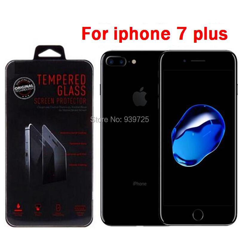 imágenes para Envío gratis 100 unids/lote hd clear ultra thin 0.3mm 2.5d vidrio templado protector de pantalla para iphone 7 plus + paquete al por menor