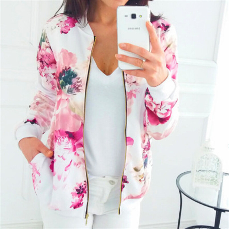 Fashion Women Coats Fall 2019 Basic Floral Printed Jacket Outwear Long Sleeve New Brand Leisure Zipper Jacket For Women Clothing