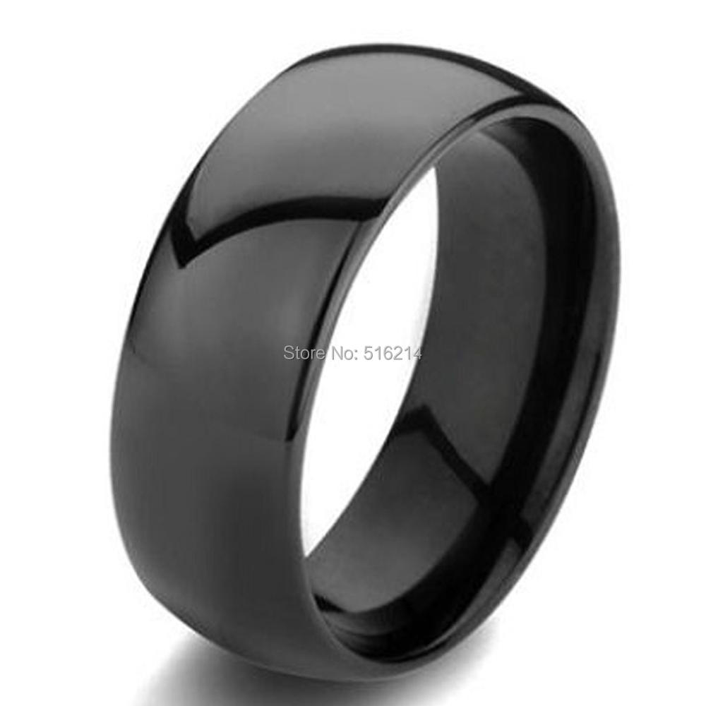 Hot Sale in US Russian 8mm Black Dome Polish Men's Tungsten Carbide Wedding Band Ring Polished Comfort Fit Size 6 to 14