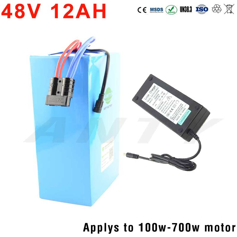 18650 eBike Battery 48V 12Ah Lithium Battery Pack For Electric Bikes 48V 100W-700W Motor With 54.6V 2A Charger Freeshipping Duty 48v 34ah triangle lithium battery 48v ebike battery 48v 1000w li ion battery pack for electric bicycle for lg 18650 cell