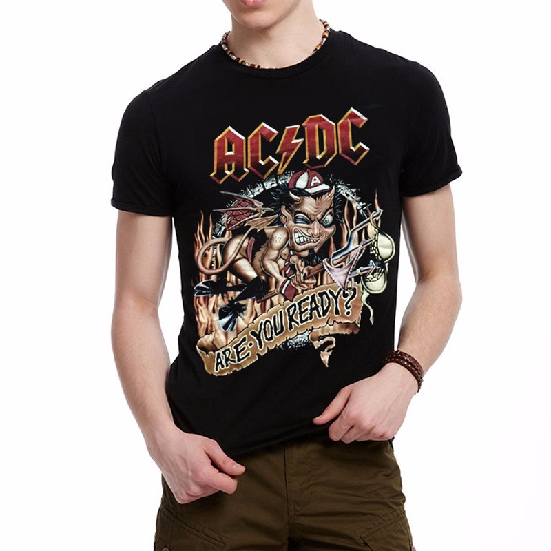 2018 AC DC Heavy metal cotton black punk rock T shirts 100% cotton Cool  HipHop t shirts printed shirts for mens 3d tshirt-in T-Shirts from Men s  Clothing ... 61fbce3e75392
