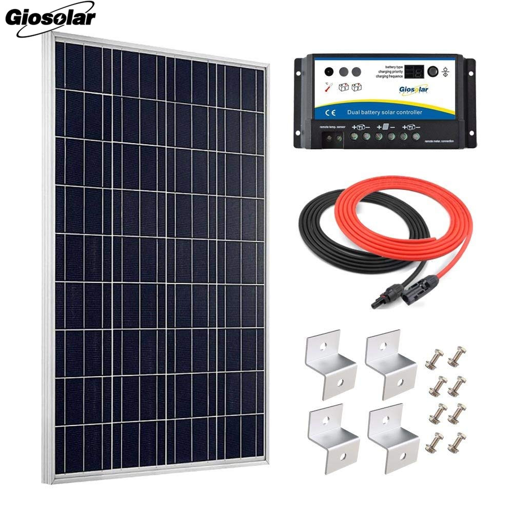 100W Polycrystalline Solar Panel Kit with Charge Controller /& Cables High Effiency 12V 24V Battery Charger for Home Off Grid System