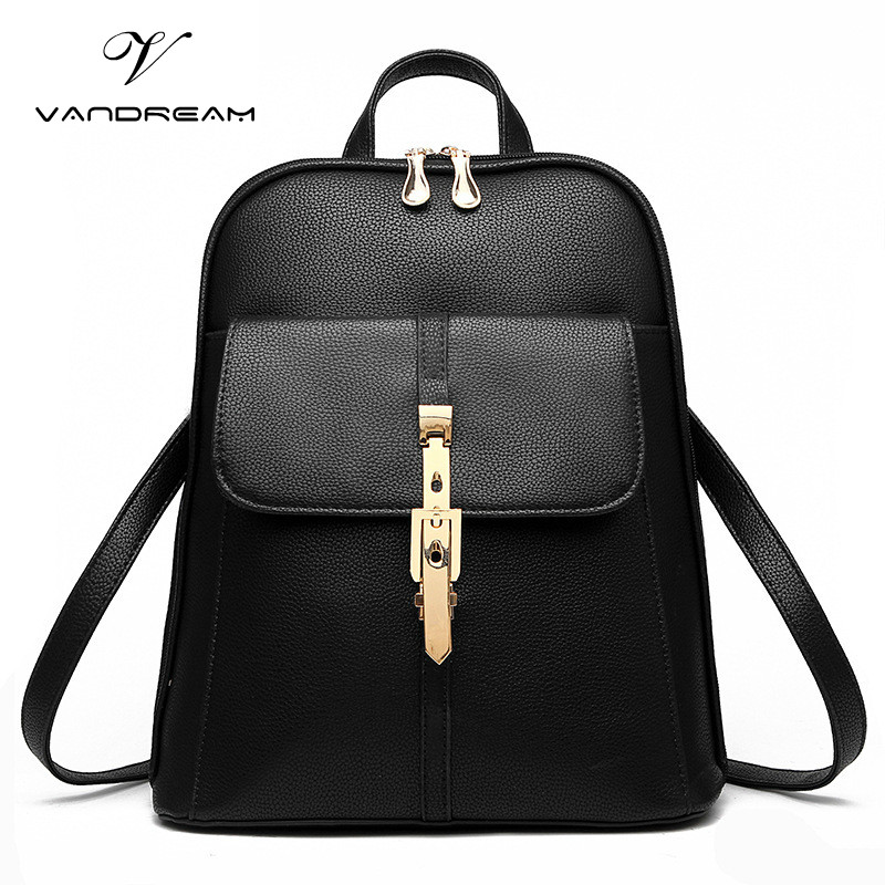 Famous Brand Women Backpacks Solid Candy Vintage Girls School Bags for Black PU Leather Youth Teenager