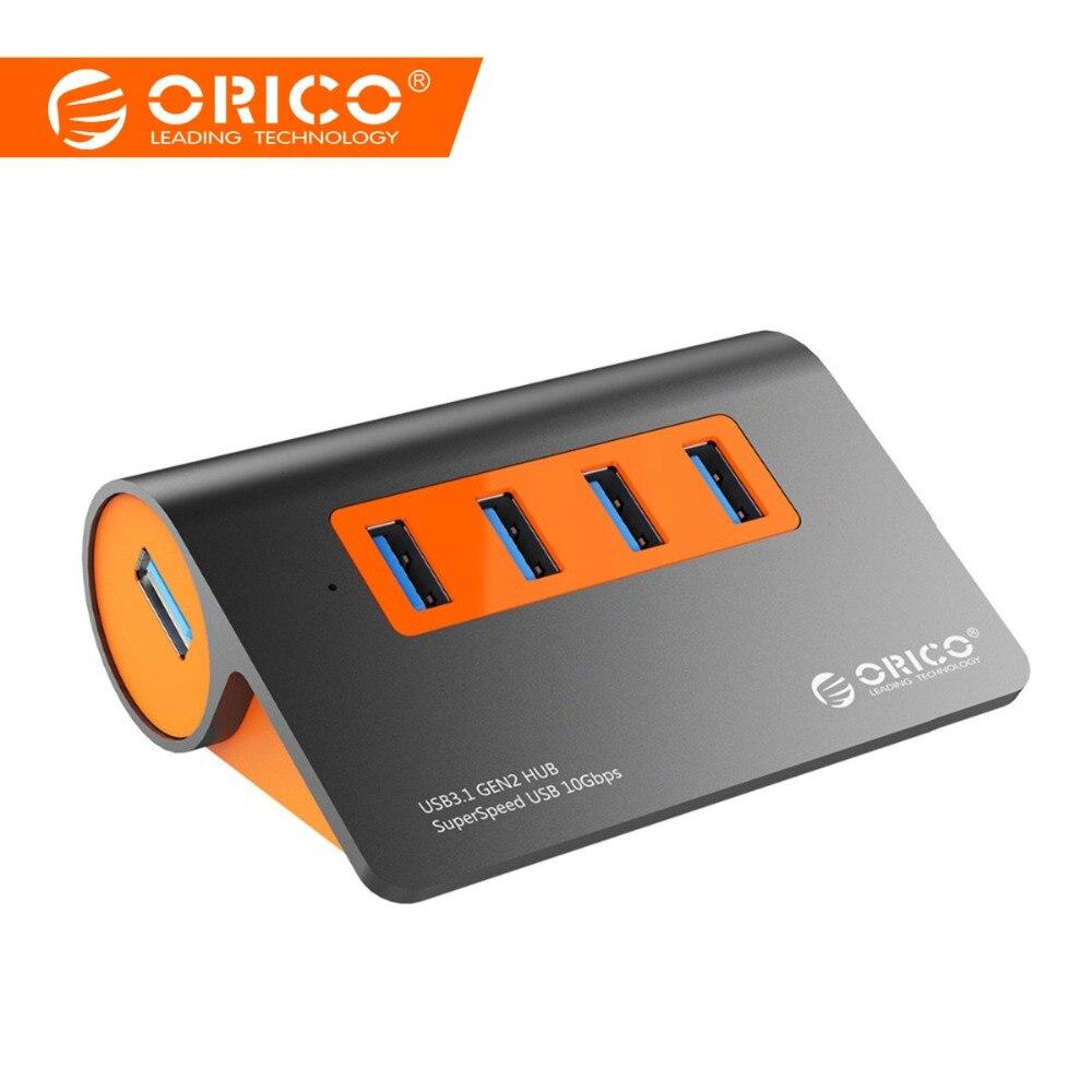 ORICO Aluminium 4 Ports USB3.1 Hub 10 Gbps Super vitesse de transmission USB Splitter avec 12 V adaptateur secteur Pour Accessoires Informatiques