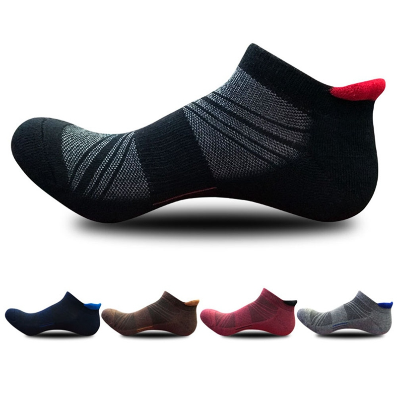 Efinny Male Boat Socks Mens Ultra-comfort Cotton Ankle Socks Casual Breathable Thick Solid Color Dark Flower Sports Sock Beautiful And Charming Men's Socks